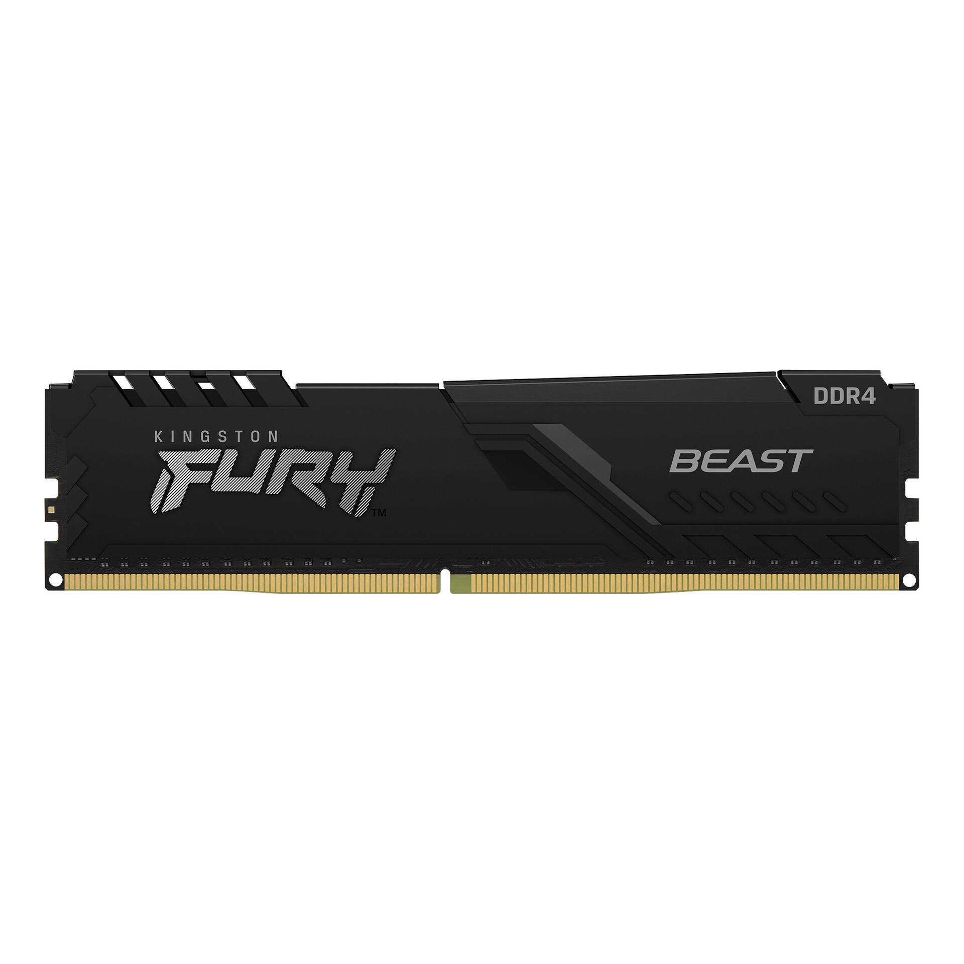 KINGSTON - KINGSTON - 16GB 3200MHz DDR4 CL16 DIMM 1Gx8 FURY Beast Black