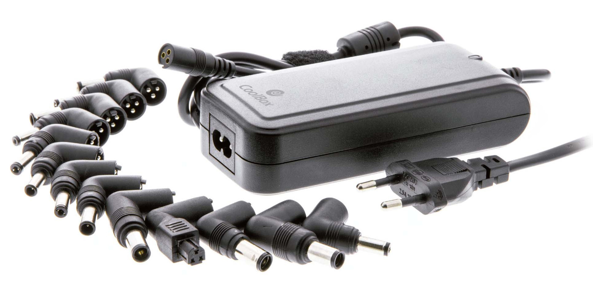 Transf. Universal CoolBox 90W, 15-24V, USB de 2.1 Amp, 12 pontas