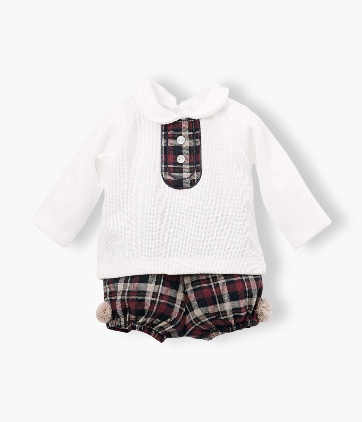 Conjunto de 2 peças para Inverno cinza composto por camisola e calças para bebé menino