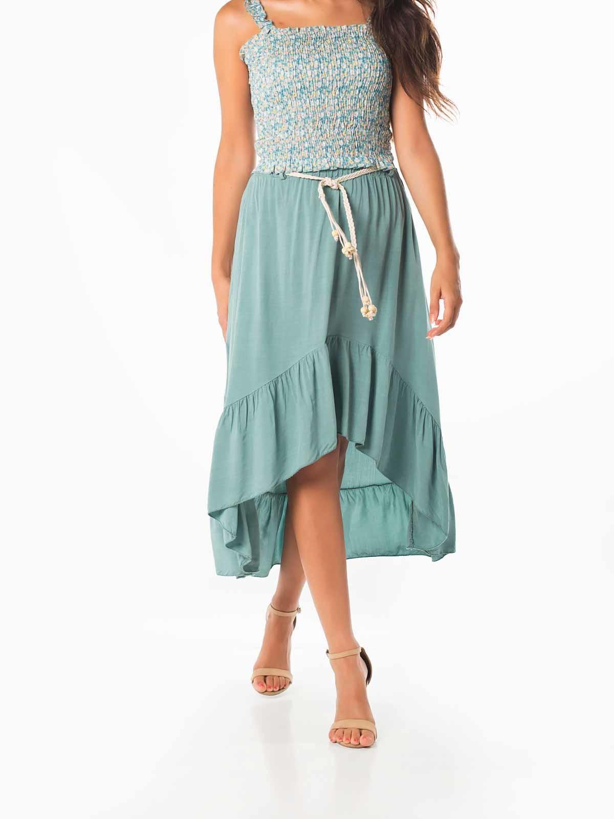 Falda midi asimétrica con cinturón