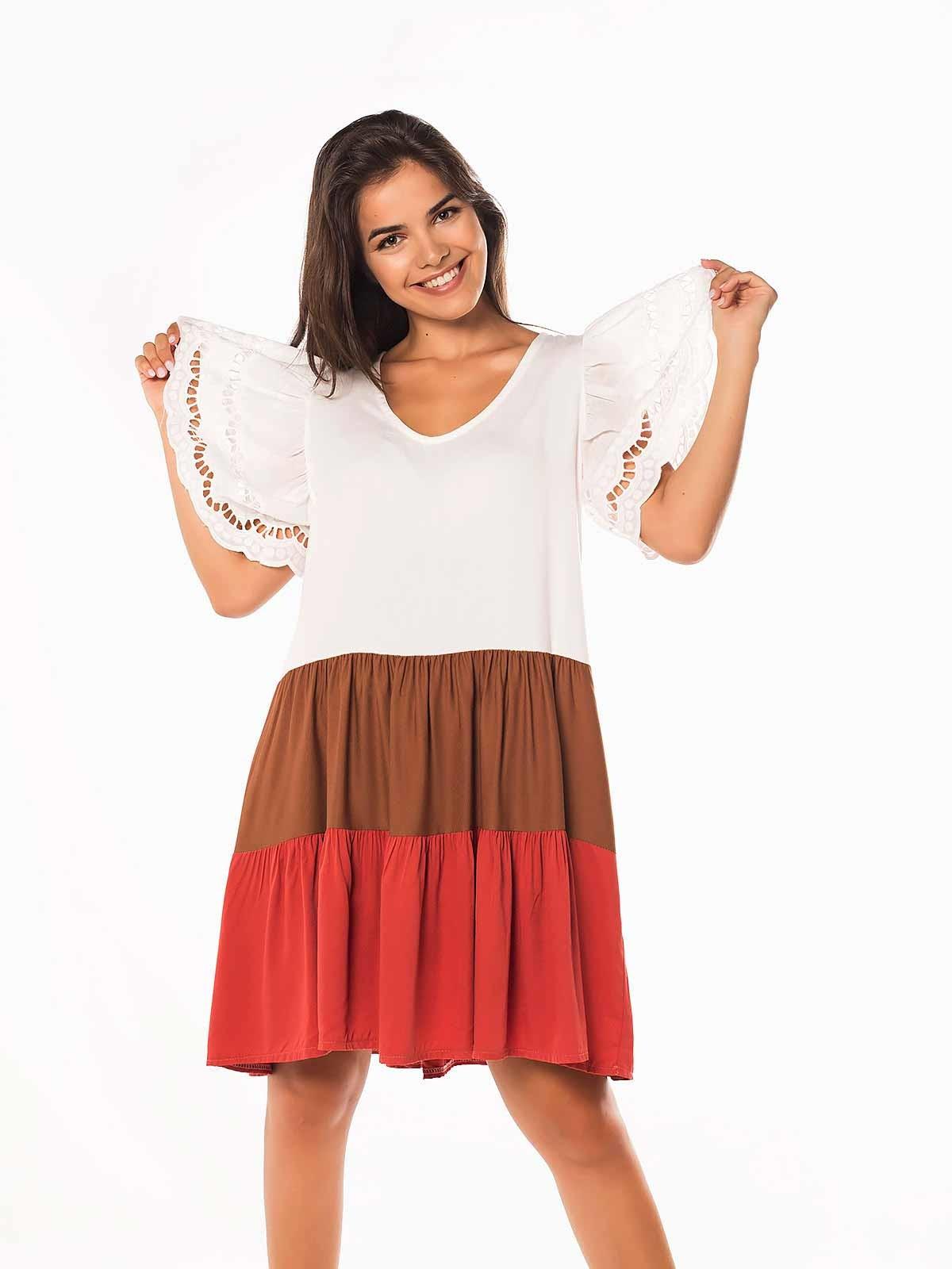 Vestido curto às riscas crochet