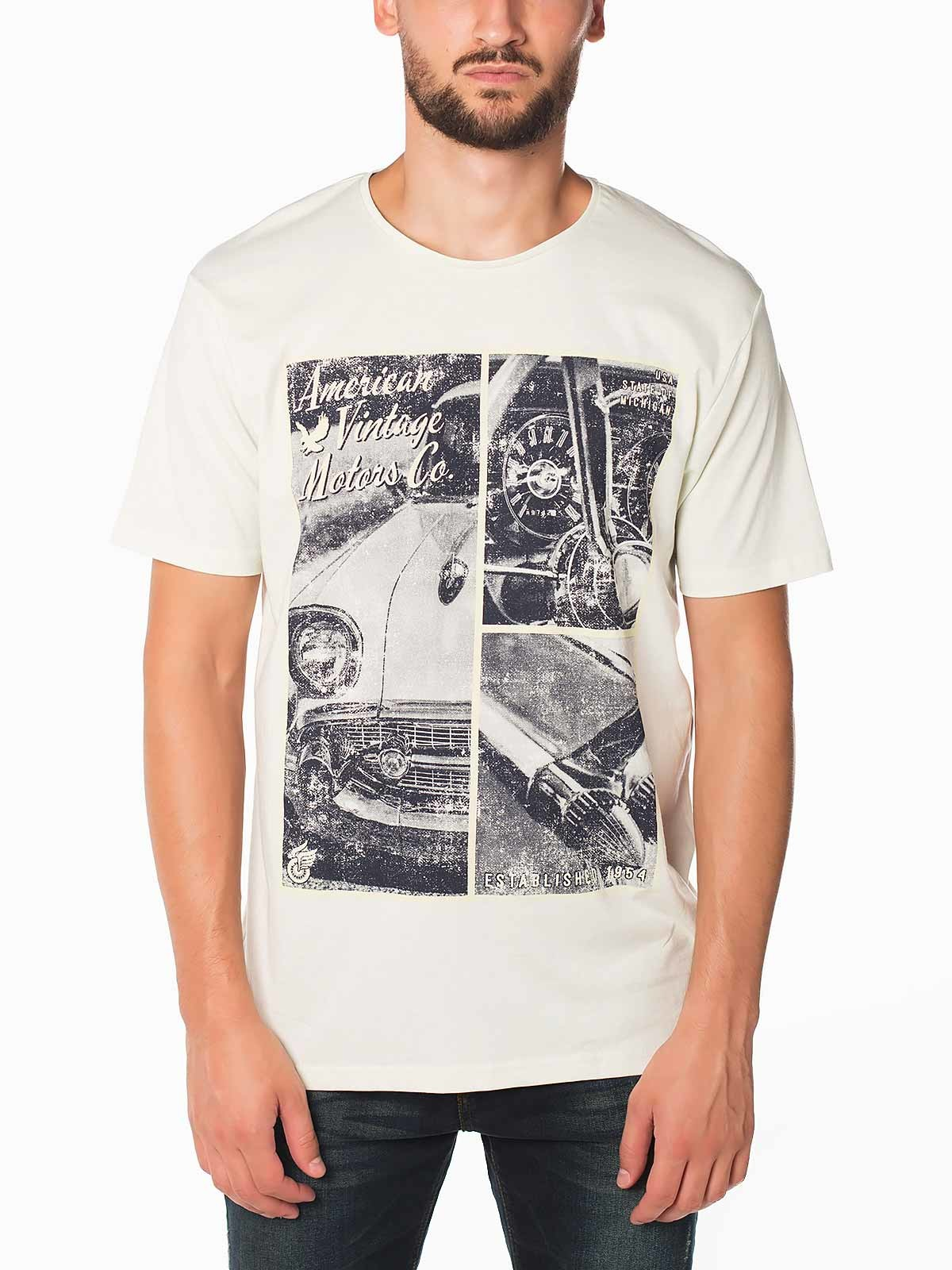 T-shirt manga curta estampada Vintage