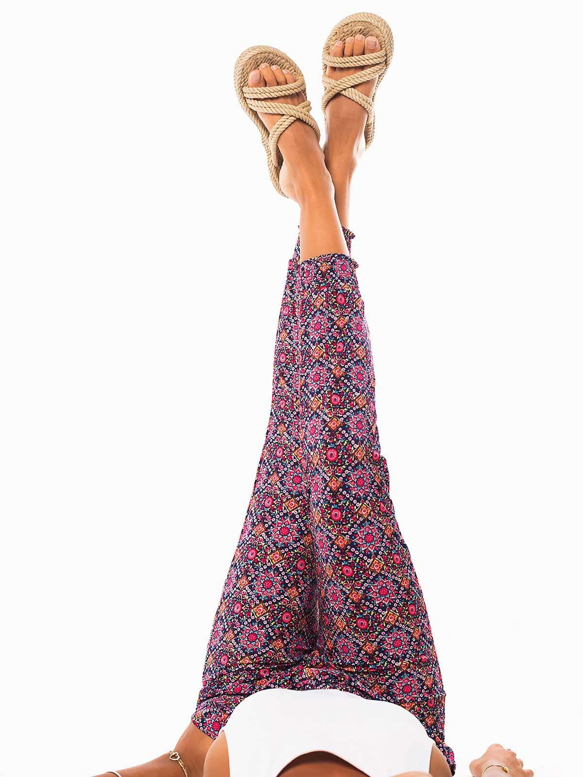 Calças senhora estampado colorido