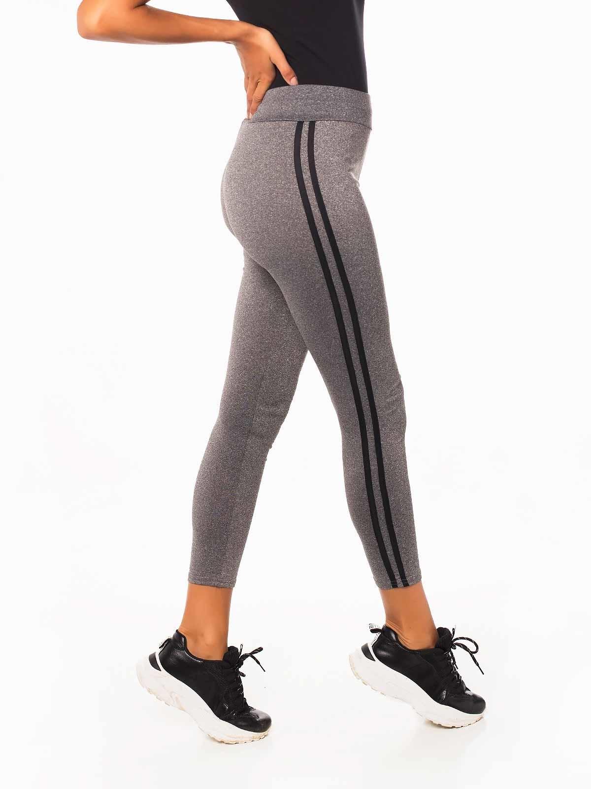 Leggings deportivos grises a rayas