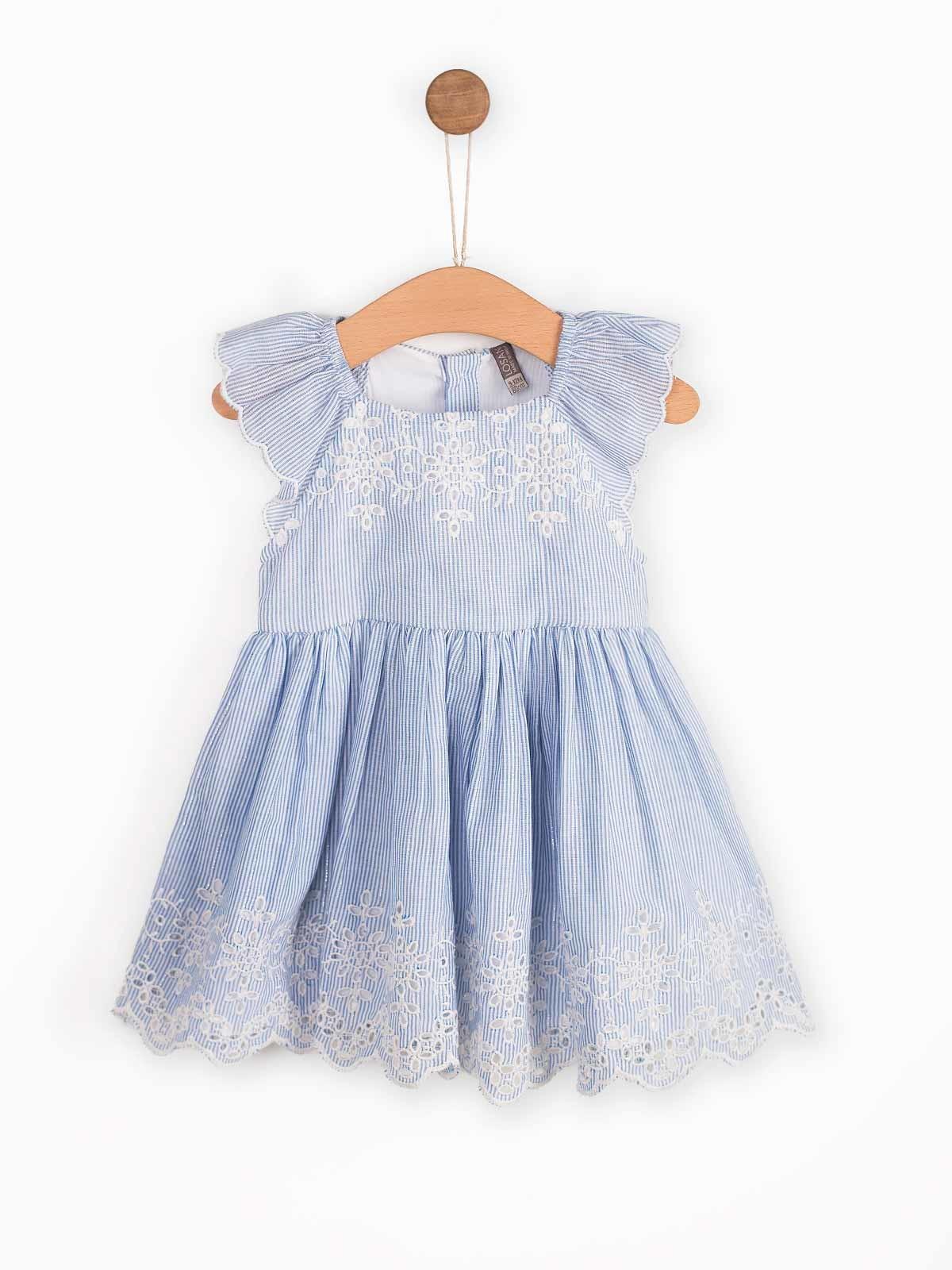 Conjunto vestido riscas com folho