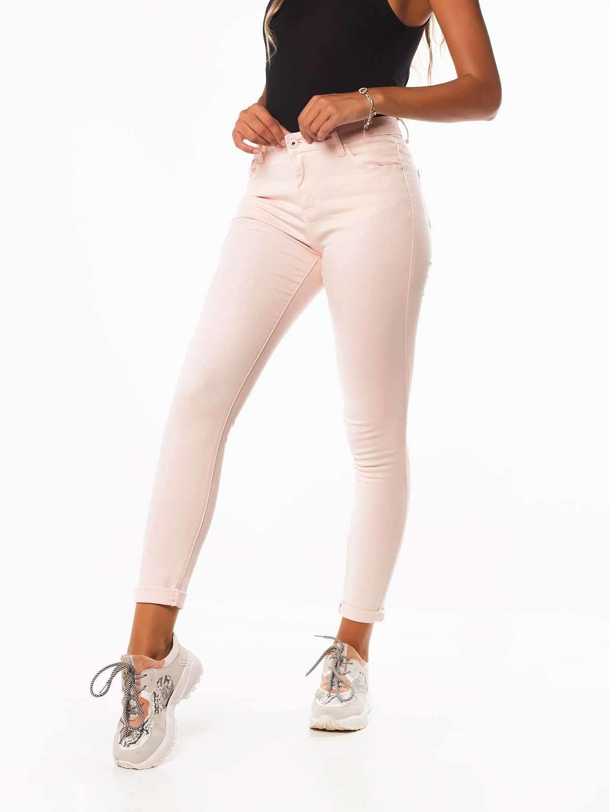 Calças sarja skinny cintura alta
