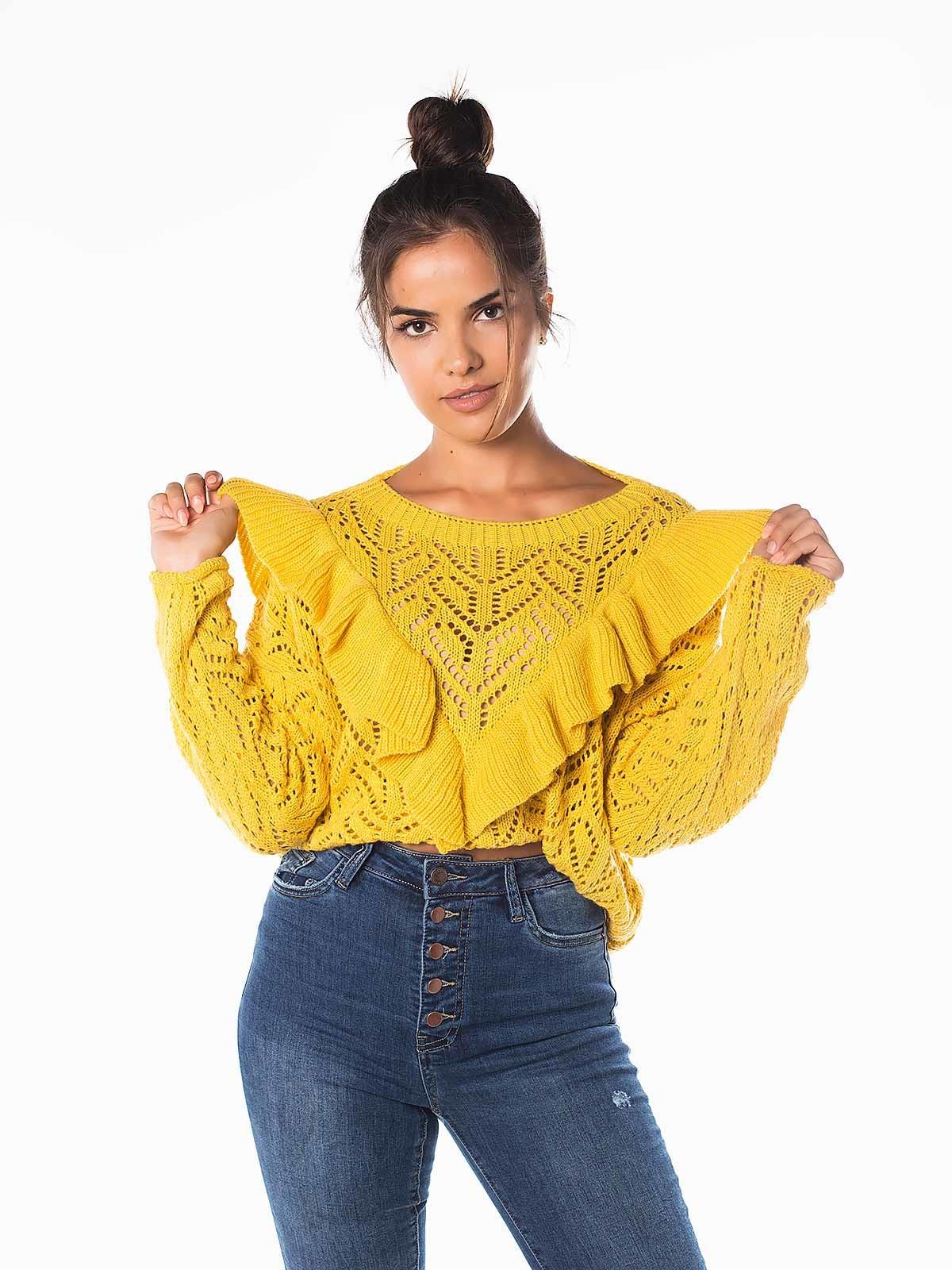 Camisola crochet com folho