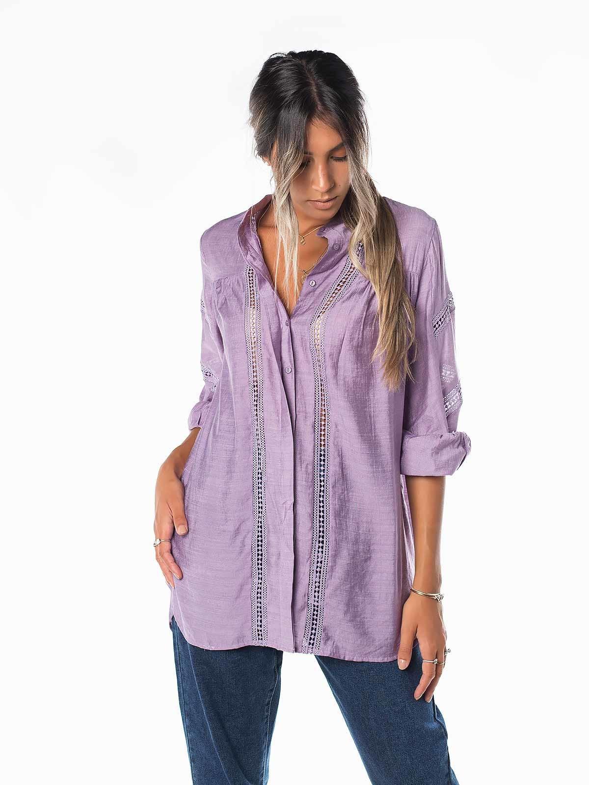 Camisa manga comprida crochet