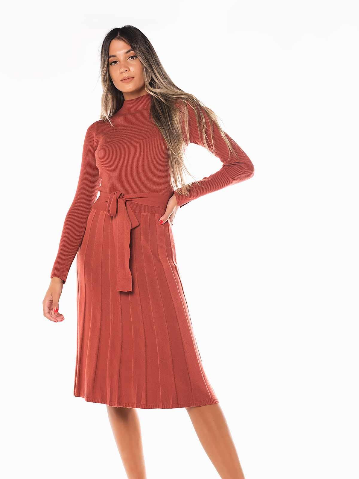 Vestido malha plissado