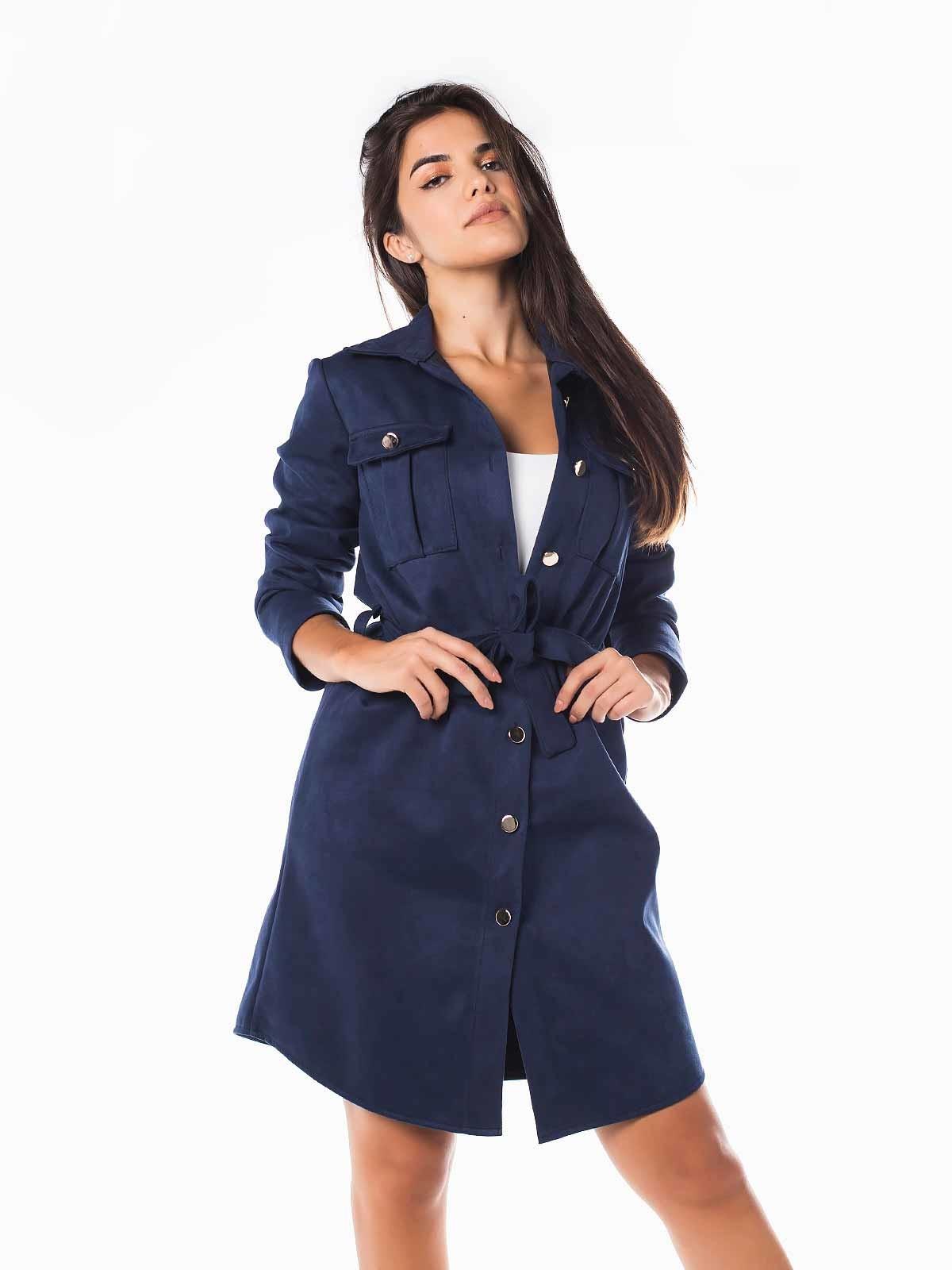 Vestido casaco de camurça