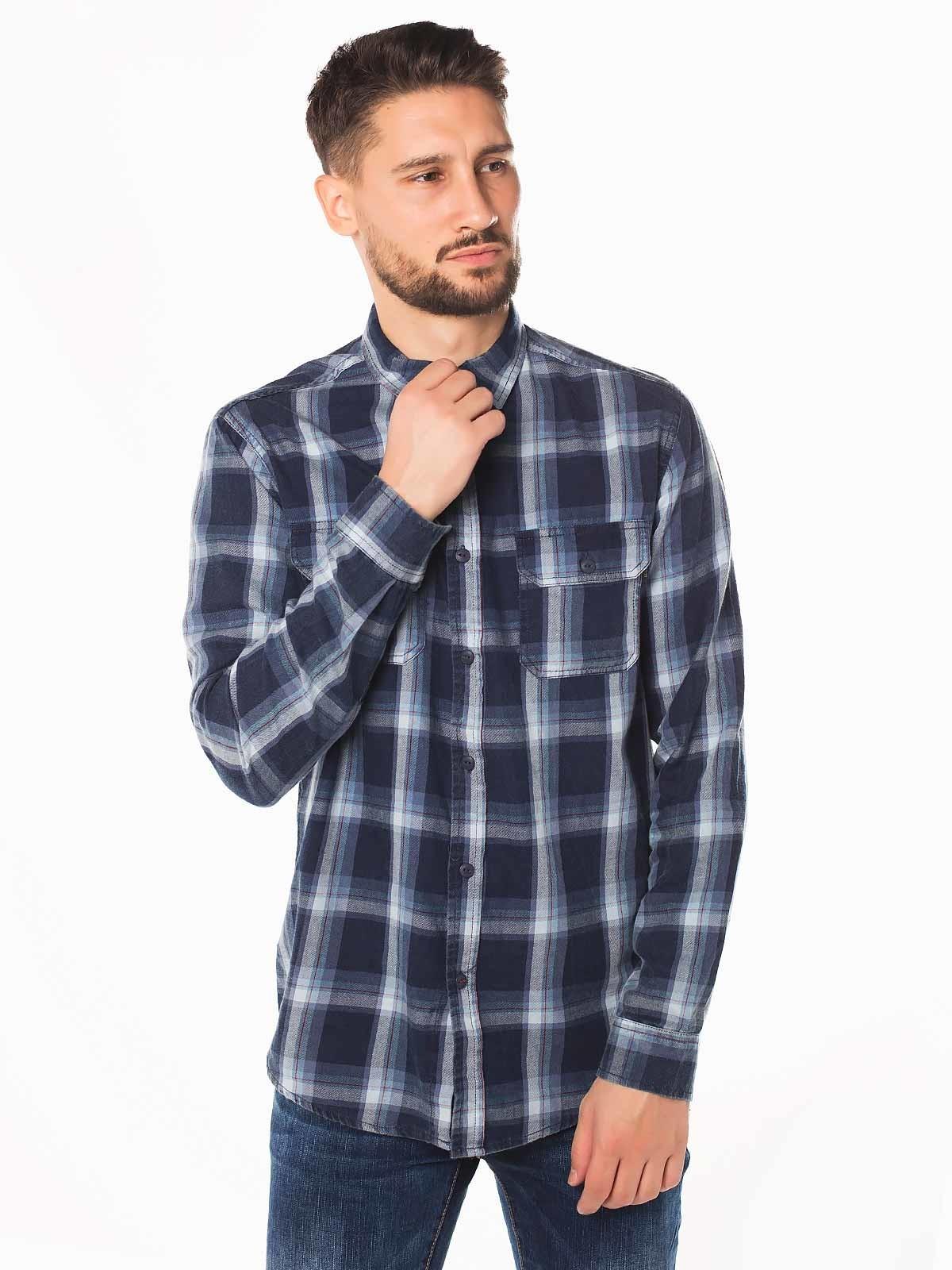 Camisa azul a cuadros