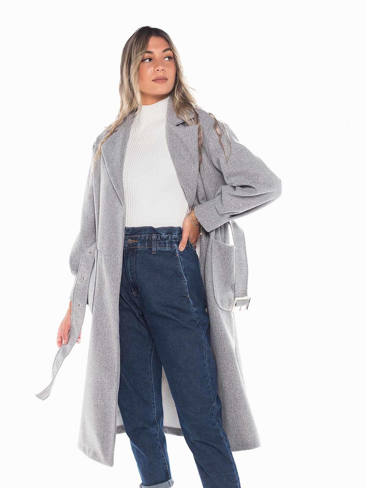 Abrigo largo lana con cinturón