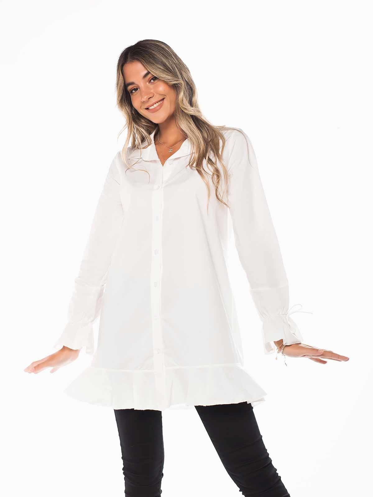 Camisa branca com folho