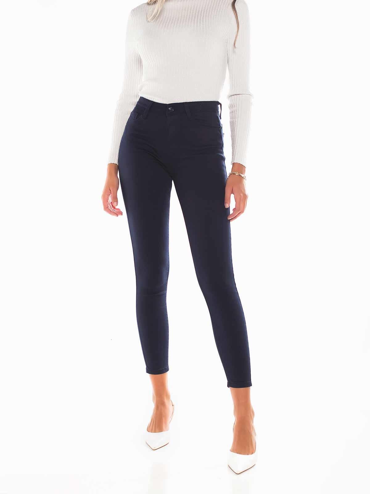 Pantalón push up de sarga azul